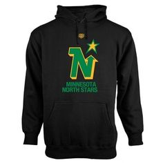 Mens Minnesota North Stars Old Time Hockey Black Big Logo with Crest Pullover Hoodie