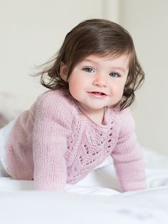 Elsie - Knit this girls raglan sweater from Little Rowan Cherish. Designed by Linda Whaley in Wool Cotton it features fully fashioned raglans and a lace panel on the body. It would be suitable for the knitter with some experience. Knitting For Kids, Easy Knitting, Baby Knitting Patterns, Baby Patterns, Baby Sweaters, Girls Sweaters, Laine Rowan, Rowan Yarn, Pull Bebe