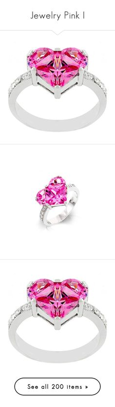 """""""Jewelry Pink I"""" by dreamgirldesign ❤ liked on Polyvore featuring Pink, Blue, jewelry, stars, rhinestone, rings, white, heart shaped cubic zirconia rings, pink cubic zirconia rings and cz heart ring"""