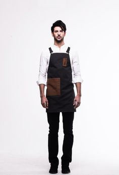 Denim Pencil Pocket Unisex Apron (Dark Gray) by ARC1_ Denim & Leather apron for barista, chef, cafe, restaurant
