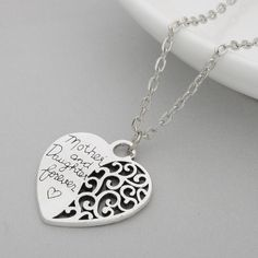 Mother & Daughter Necklace Mother & Daughter Family Love Heart-shaped Pendant Necklace. Jewelry Necklaces