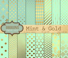 Mint and Gold Digital Paper  Gold and Mint by OriginsDigitalCurio