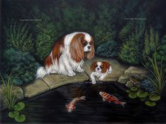 "Cavalier King Charles spaniel "" Princess and a frog "", Original painting by A J Turner"