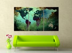Black white world map canvas print wall art 3 panel split large 30x 60 3 panels art canvas print world map texture abstract green gumiabroncs Image collections