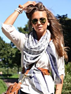 scarf belt and sunglasses