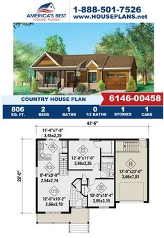 Fall in love with this one-story Country design, Plan 6146-00458 features 806 sq. ft., 2 bedrooms, one bathroom, a covered porch and the front entry garage feature. Learn more about our small Country designs on our website. Dormer Windows, Country House Plans, Front Entry, Square Feet, Design Elements, Facade, Architecture Design, Porch, This Is Us
