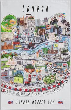 Fun and colourful tea towel with full London Mapped Out illustration