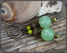 Vintage earrings green Grüne Vintage Ohrringe