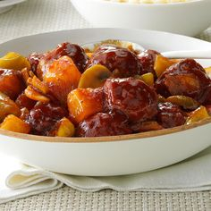 Sweet BBQ Meatballs Recipe -These sauced-up meatballs have big Asian flair. If your family likes sweet-and-sour chicken, this beefy version is bound to hit the spot. —Taste of Home Test Kitchen, Greendale, Wisconsin