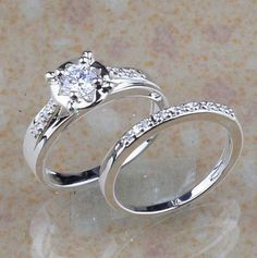 New Genuine WHITE TOPAZ GEM 925 STERLING SILVER RING SIZE 8 Wedding Engagement #Unbranded #SolitairewithAccents