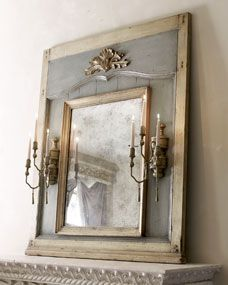 Mirror with Candle Sconces at Horchow. This wooden mirror is flanked by candle sconces that hold standard tapers. x x sconces fireplace Mirror with Candle Sconces Painted Furniture, Diy Furniture, Trumeau Mirror, Mirror Mirror, French Mirror, Broken Mirror, Wood Mirror, Vintage Mirrors, Antique Frames