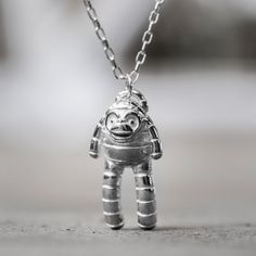 ace3b6f57 Bandit Necklace - Silver Plated Monkey Pendant Designed by Spencer Hansen  for Men and Women - Silver Sock Monkey - Trickster Chimp Pendant