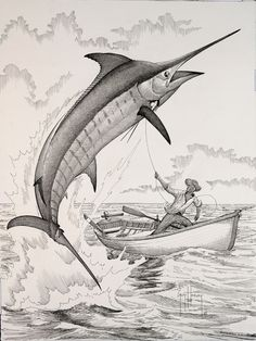 old man and marlin 19x14 ink on paper 2006-Guy Harvey