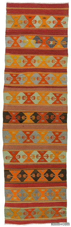 Vintage kilim runner rug hand-woven in the Mut region of Turkey in the Taurus Mountains around 40 years ago. This kilim runner is in very good condition.