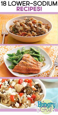 Lower-Sodium Lunch & Dinner Recipes - Healthy Lunch & Dinner Recipes with Less than Sodium Heart Healthy Recipes, Healthy Dinner Recipes, Skinny Recipes, Healthy Choices, Healthy Meals, Cooking Recipes, Sodium Free Recipes, Dash Recipe, Hungry Girl Recipes