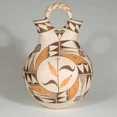 """#adobegallery - Tall and Graceful Wedding Vessel from Acoma Pueblo. Helen R. Vallo (1912-1989) Category: Contemporary Origin: Acoma Pueblo Medium: clay, pigment Size: 11-1/2"""" tall x 8"""" diameter Item # C3785A"""