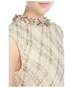 「Vince Camuto Embellished Foiled Bouclé Shift Dress」
