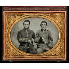 Captain Charles A. and Sergeant John M. Hawkins, Company E, Tom Cobb Infantry, Thirty-eighth Regiment, Georgia Volunteer Infantry, 1861–62. Quarter-plate ambrotype with applied color.