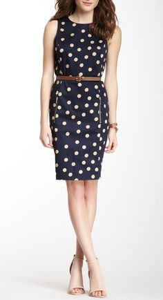 Blue Polka & Cream dot pencil dress with brown belt.