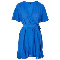 Women's Topshop Ruffle Wrap Dress ($90) ❤ liked on Polyvore featuring dresses, blue ruffle dress, wrap dress, short dresses, sleeved dresses and mini dress