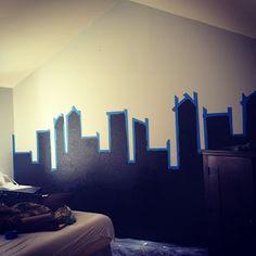 Gotham City Superhero Wall! Boys room.  www.mydamnfairytale.com