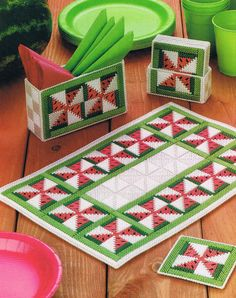 WATERMELON PINWHEEL Table Set  Plastic Canvas Summertime by M2Hawk, $3.25