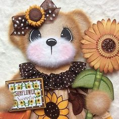ELITE4U-Laura-SUNFLOWER-BOUTIQUE-GIRL-Tear-BEAR-Premade-Scrapbook-3paperwishes