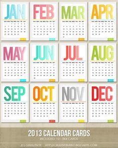 Image of *NEW* 3x4 2013 Calendar Cards (Digital)