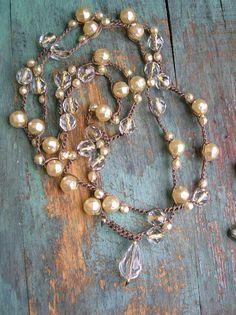 Perle häkeln Halskette - Gigi - häkeln Halskette Land Cowgirl Boho gehäkelten Schmuck Scheune Creme Glas Perlen Brautjungfern Hochzeitsgeschenk