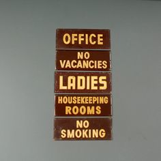 Vintage No Vacancies Sign - Retro Burgundy Metal sign. Fanshawe Blaine