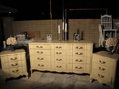 After - Amazing glazed Ivory French Provincial nightstands and dresser. They are not so shabby, but very chic! (SOLD)