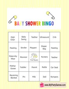 Free Printable Baby Shower Bingo Game in Yellow Color