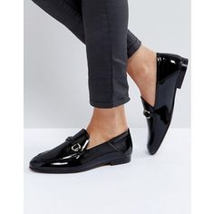 Hudson London Arianna Black Patent Loafers