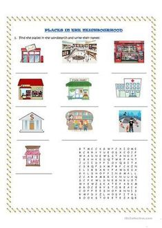 places in our community worksheet free esl printable worksheets my community pinterest. Black Bedroom Furniture Sets. Home Design Ideas
