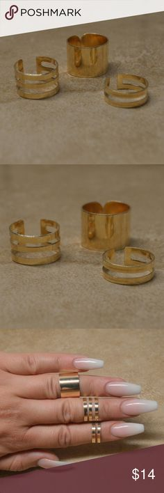 Back In! New Set of 3 Gold Stacking Cuff Rings Awesome set of three adjustable gold stacking midi knuckle rings.   Brand new and perfect! Also available in silver. Great for that bohemian boho hippy chic look! Multiple stacking rings. Jewelry Rings