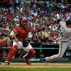 ST. LOUIS, MO - SEPTEMBER 8: Aramis Ramirez #16 of the Milwaukee Brewers hits a base hit against the St. Louis Cardinals at Busch Stadium on September 8, 2012 in St. Louis, Missouri. (Photo by Jeff Curry/Getty Images)