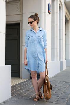 Blue shirt #dress #ootd #look #style #blue #shirt #summer #round #sunglasses