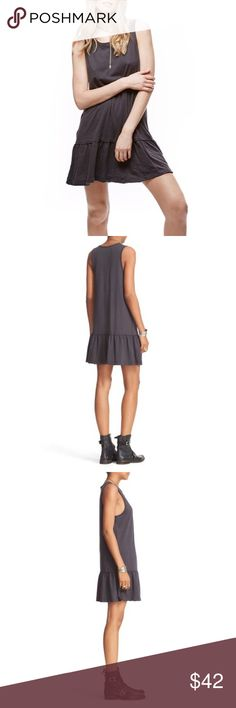"""Free People Brittany Dress NWT charcoal gray Designed to be layered up or worn on its own, this streamlined shift dress has exposed seams and a cool peplum hem. - Scoop neck - Sleeveless - Slips on over head - Unlined - Approx. 33"""" length (size M) - Imported Fiber Content 100% cotton Care Machine wash cold, tumble dry low Additional Info True to size.XS=0-2, S=4-6, M=8-10, L=12. Free People Dresses Mini"""