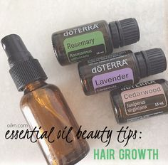 Hair Grown Serum: Combine 10 drops each of rosemary, lavender, and cedarwood in a glass spray bottle with water and spritz on scalp twice daily.
