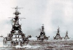 The Might of the Royal Navy: The British 5th Battle Squadron leaves port, lead by dreadnoughts HMS Barham, Valiant, Malaya, and Warspite.