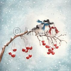 Nieuwjaarsbrief An Melis Christmas Scenes, Christmas Images, Christmas Art, Illustration Noel, Illustrations, Watercolor Christmas Cards, Watercolor Cards, Bunny Drawing, Christmas Time Is Here