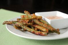 beer battered green beans with spicy dipping sauce. yes, they're as amazing as they sound!