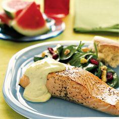 Wild Pacific Salmon with Creamy Avocado Sauce