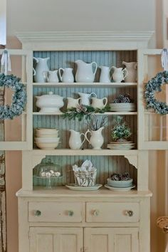 White hutch with french blue interior Painted Hutch, Painted Furniture, Kitchen Hutch, Kitchen Decor, Dining Hutch, Dining Room, Furniture Makeover, Diy Furniture, White Hutch