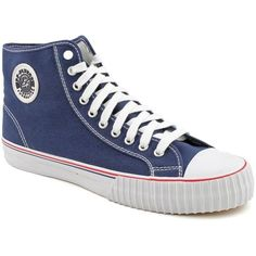 PF Flyers Center Hi Sneaker - unisex ($19) ❤ liked on Polyvore featuring shoes, sneakers, pf flyers shoes, wedge trainers, pointed-toe sneakers, wedge heel sneakers and rubber sole shoes