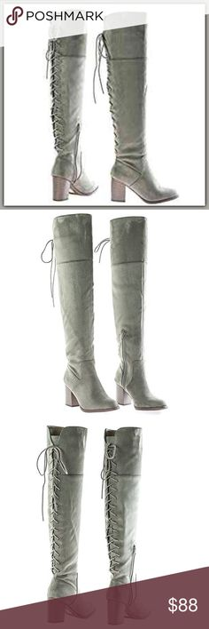 """🆕 Lace Up Knee High Boots ➖NEW ➖SIZE : 7  ➖HEIGHT OF SHAFT - 20""""  ➖HEEL HEIGHT- 3.25""""  ➖COLOR: Taupe.     ❌NO TRADE       Entropycat Shoes Over the Knee Boots"""