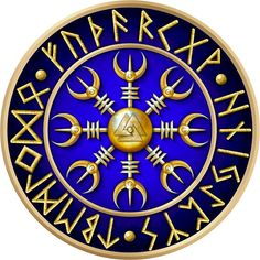 Norse Aegishjalmur Runes - Blue