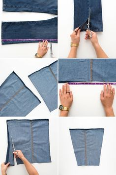 Jeans, jeans the magical pants; the more you wear 'em, the better you dance… Transform old jeans into a tote with this DIY. 4 Ways to Embellish Your Jeans With Studs + Leather Use these methods to make boot inserts from old jeans. How to Upcycle Your Jean Crafts, Denim Crafts, Artisanats Denim, Jeans Recycling, Jean Diy, Denim Ideas, Recycled Denim, Old Jeans, Sewing Basics
