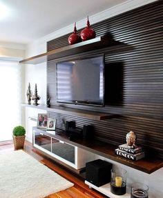 Home Theaters: 40 projetos de CasaPRO para você ter um cinema em casa – Herzlich willkommen Design Living Room, Living Room Tv, Home Living, Apartment Living, Living Room Home Theater, Apartment Entryway, Entryway Wall, Entryway Ideas, Apartment Kitchen