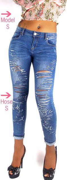 Mozzaar schwarz o.blau Jeans Ethno Stickerei Beinende Strass High Waist Gr-36-48